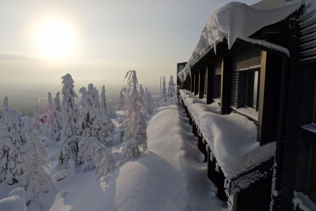 View of winter Lapland right behind your cabin's windows..