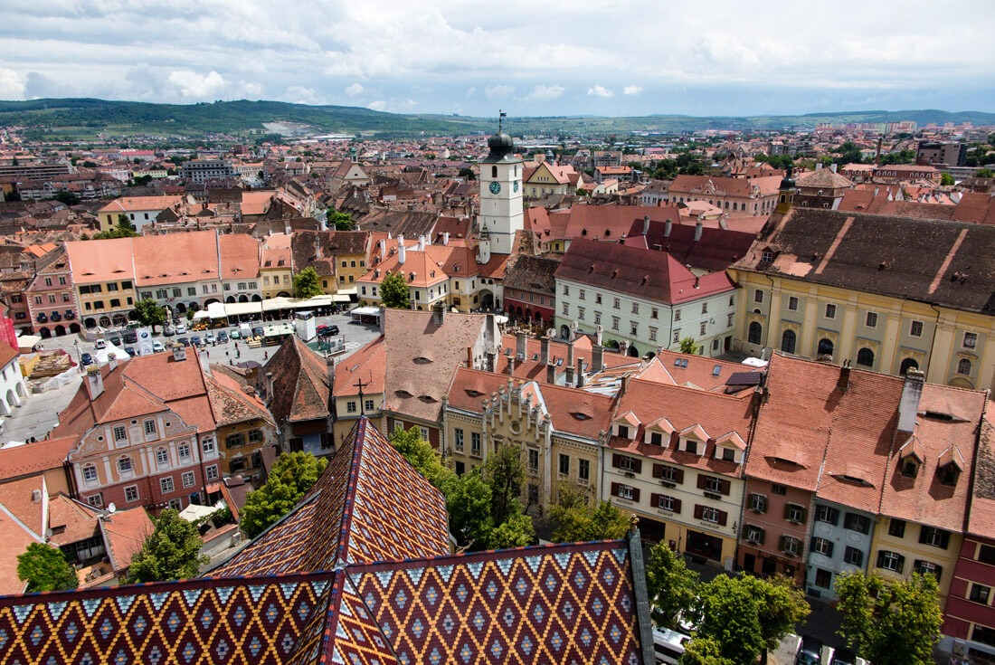 Beautiful view of the Old Town from Sibiu Cathedral Romania