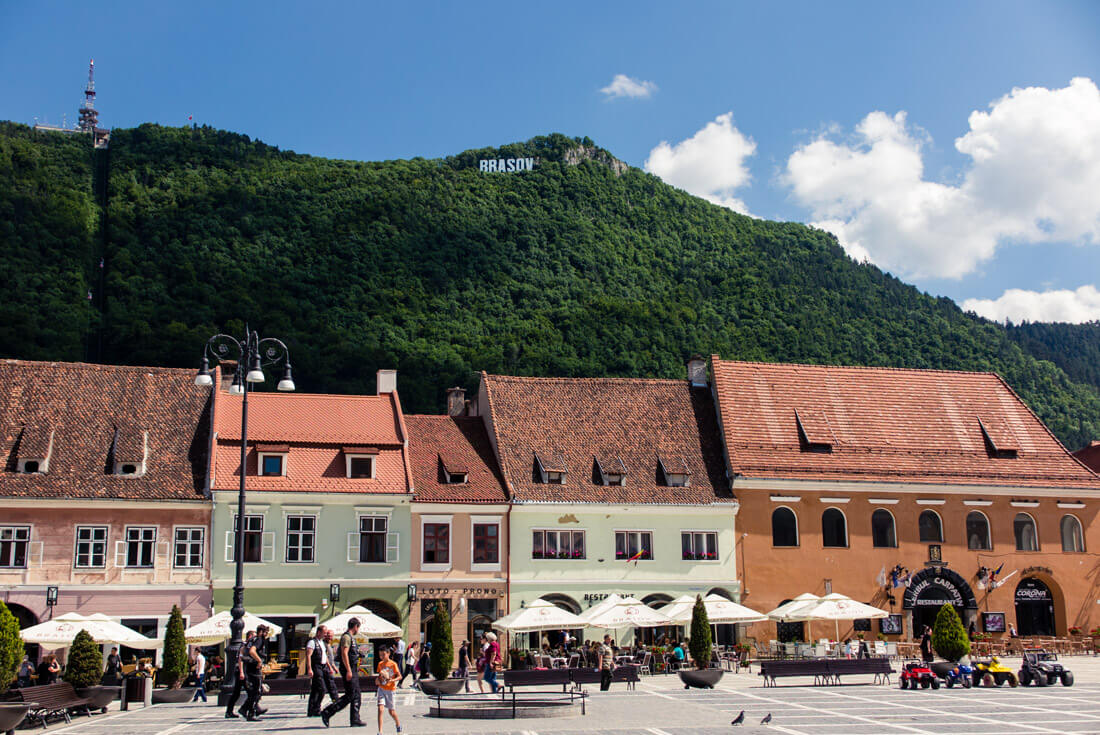Brasov's Council Square and the Hollywood sign