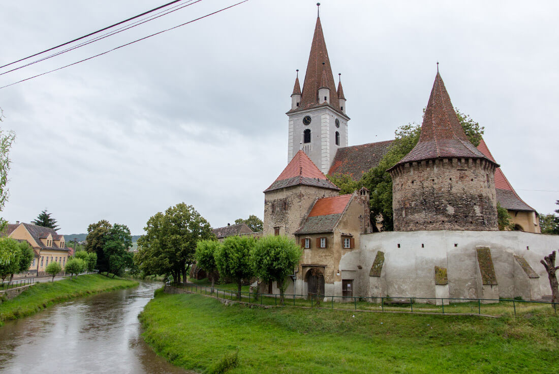 Evangelical Church and the Bacon Tower in Cristian, Romania