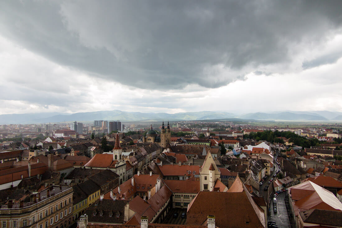 Sun on Old Town Sibiu after the storm - viewed from Sibiu Cathedral