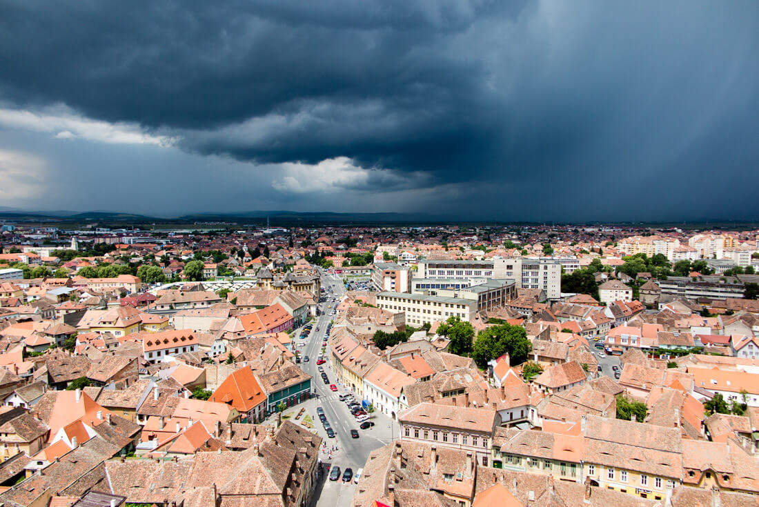 View of a stormy day from Sibiu Cathedral, Transylvania