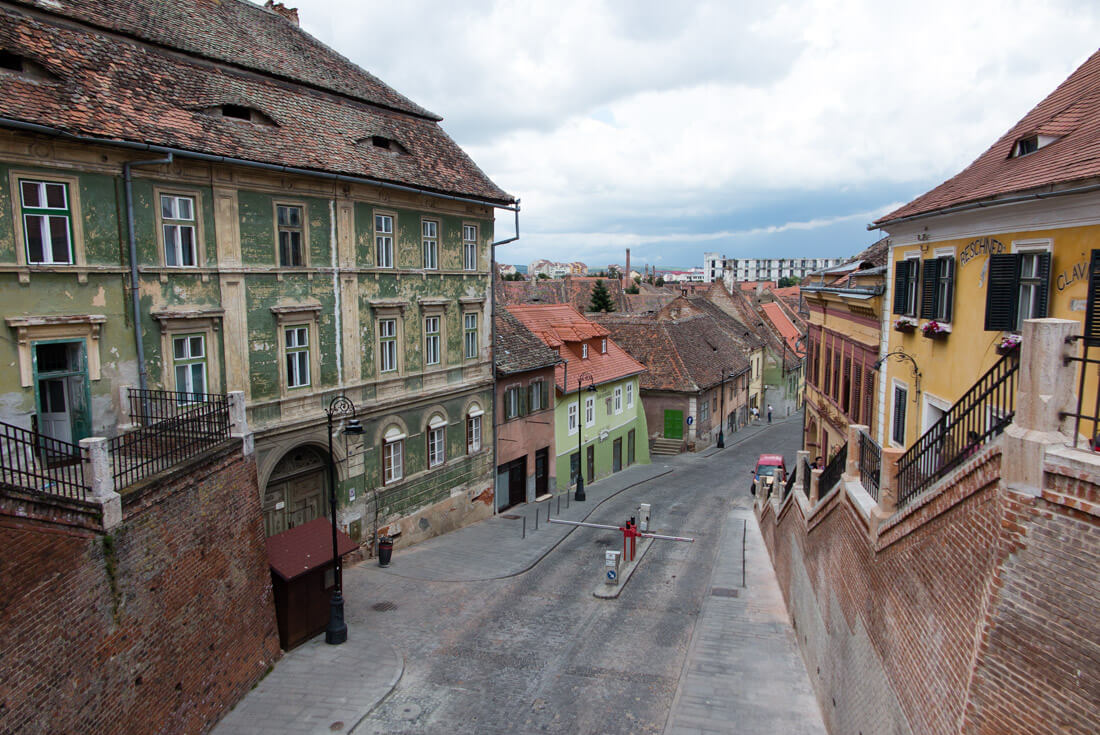 View of Sibiu's Lower Town from the Liars' Bridge
