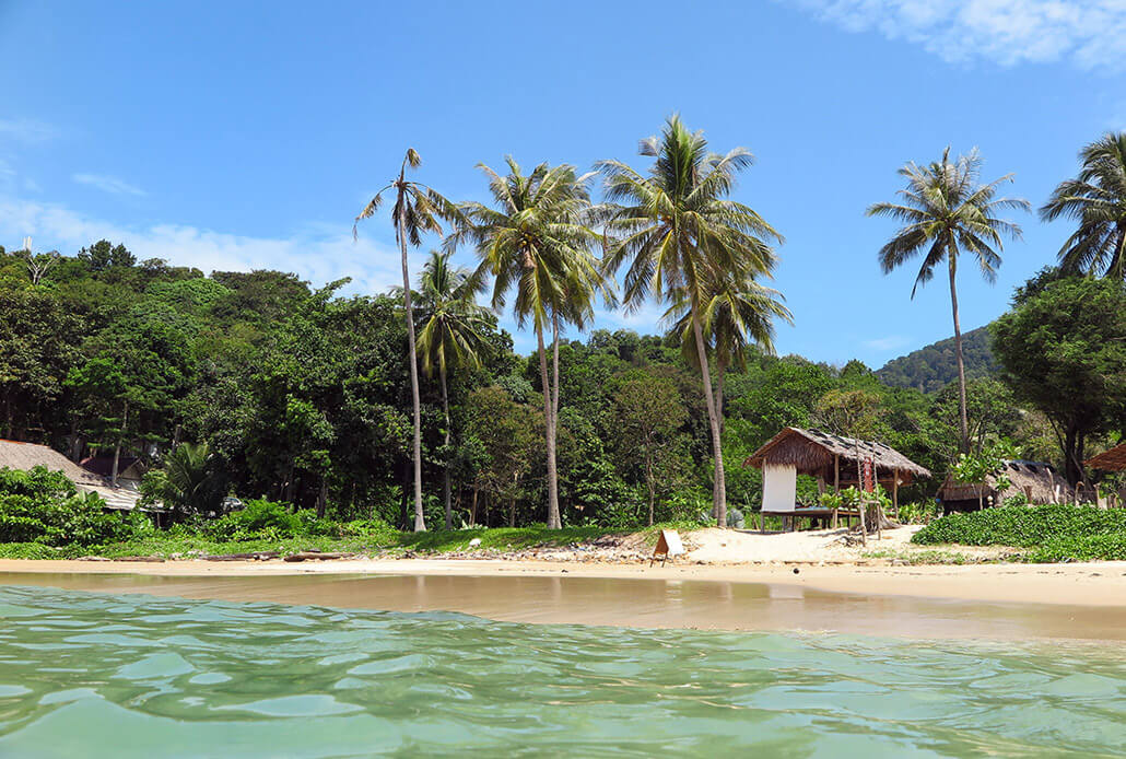 View of Ao Mai Pai Beach from the water - Koh Lanta, Thailand