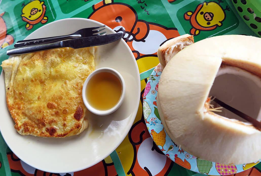 Thai pancake & a fresh coconut in Koh Lanta, Thailand