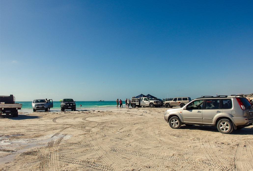 Australians driving on the beach