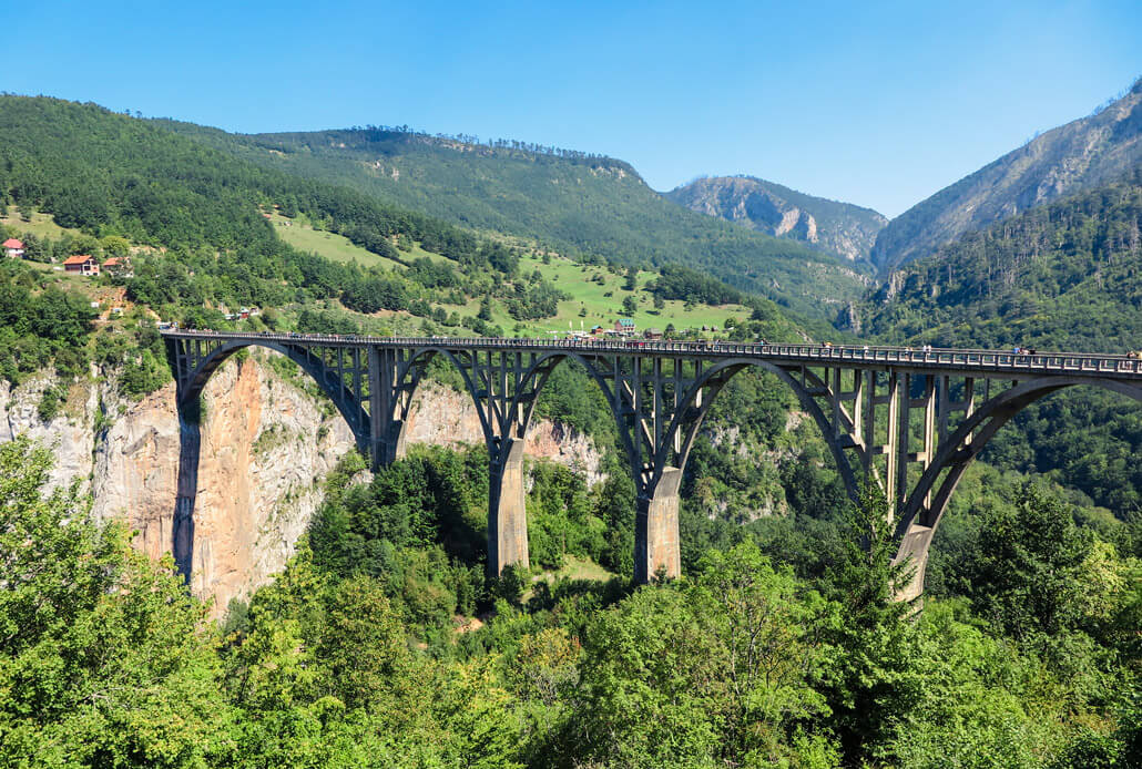 Durdevica Tara Bridge above the Tara River Canyon, Montenegro