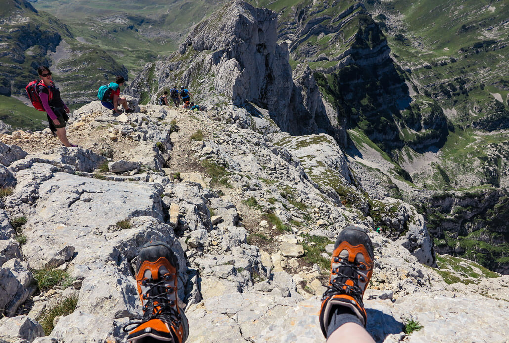 Steep climb down from the top of Bobotov Kuk, Durmitor National Park Montenegro