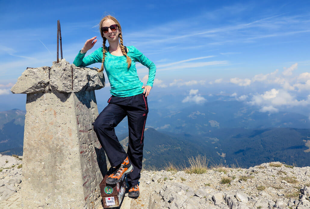 Veronika of TravelGeekery on the top of Kom Vasojevickij, Montenegro