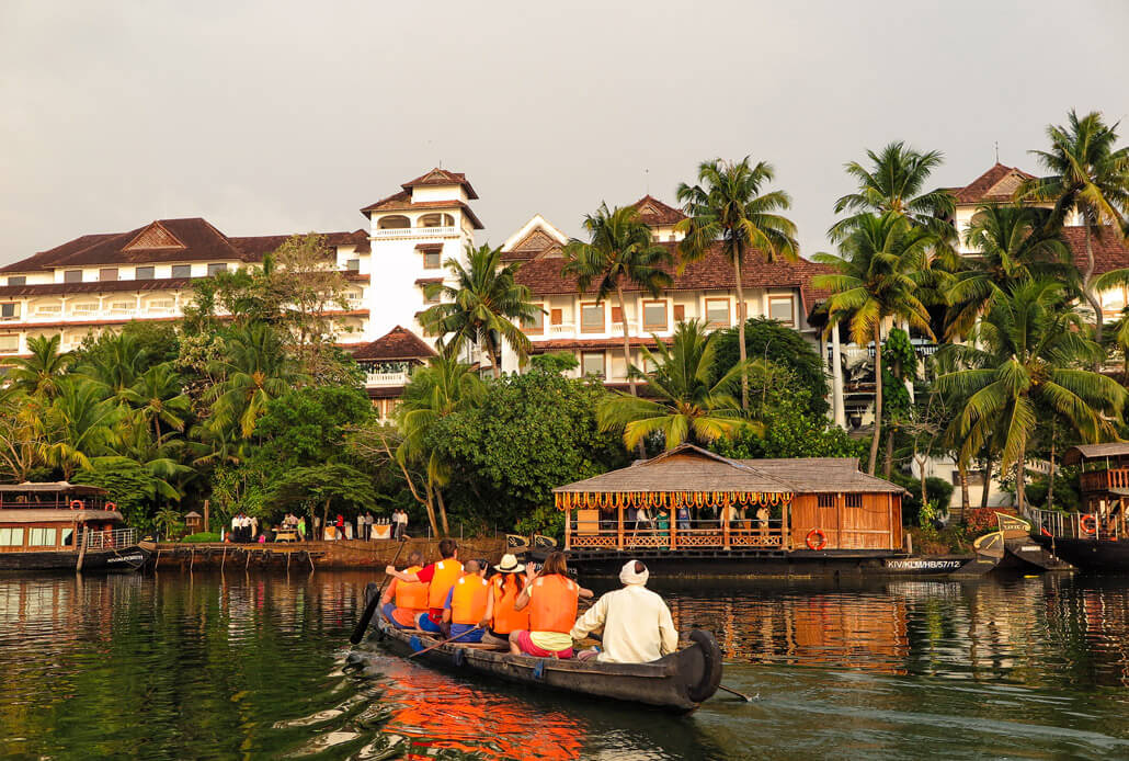 Canoeing by the Raviz hotel, Kerala, India