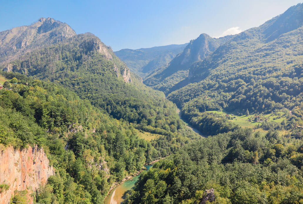 View of the Tara River Canyon from the Durdevica Bridge, Montenegro