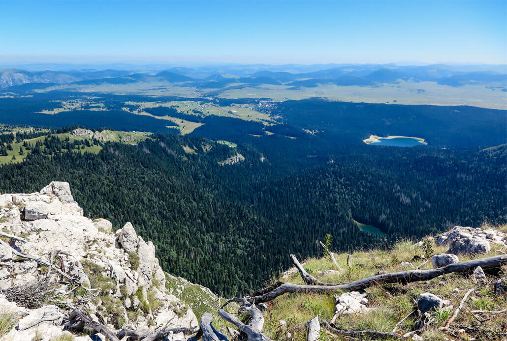 Crno Jezero (Black Lake) and the view from the top of Crvena Greda Mountain in Durmitor National Park Montenegro