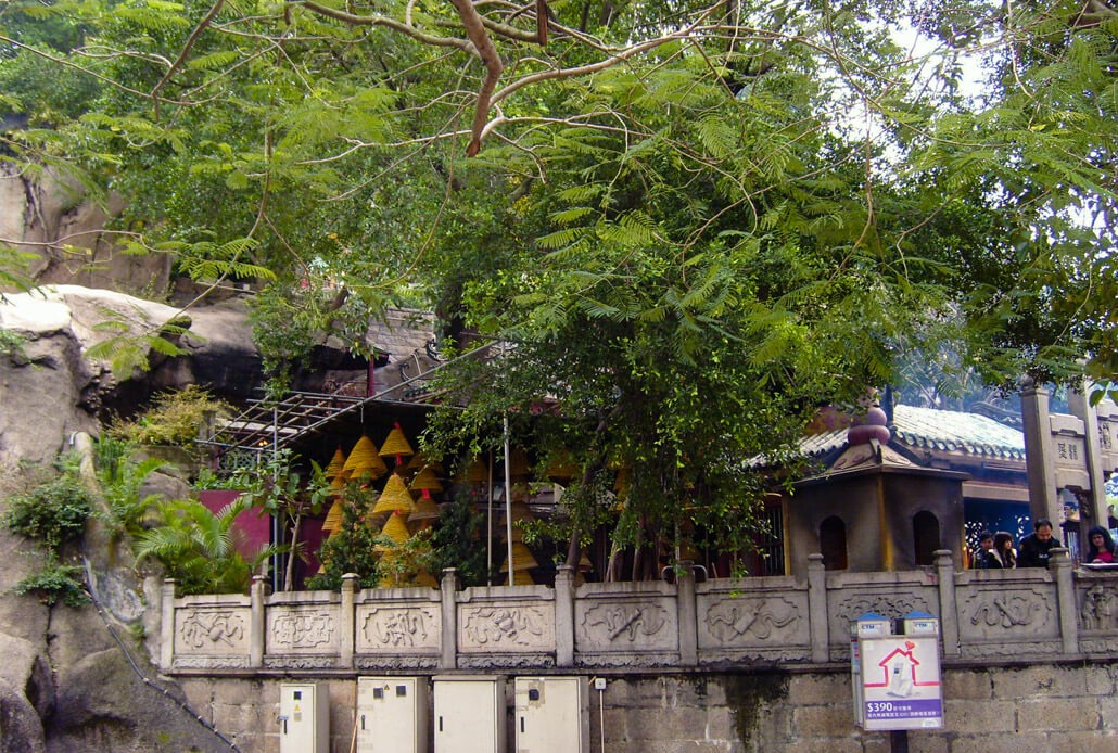 Parts of the A-Ma Temple hidden in greenery