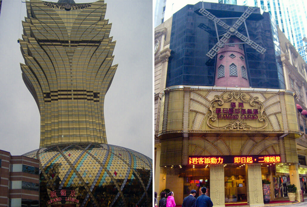 Casinos in Macau: Grand Lisboa and Diamond Casino