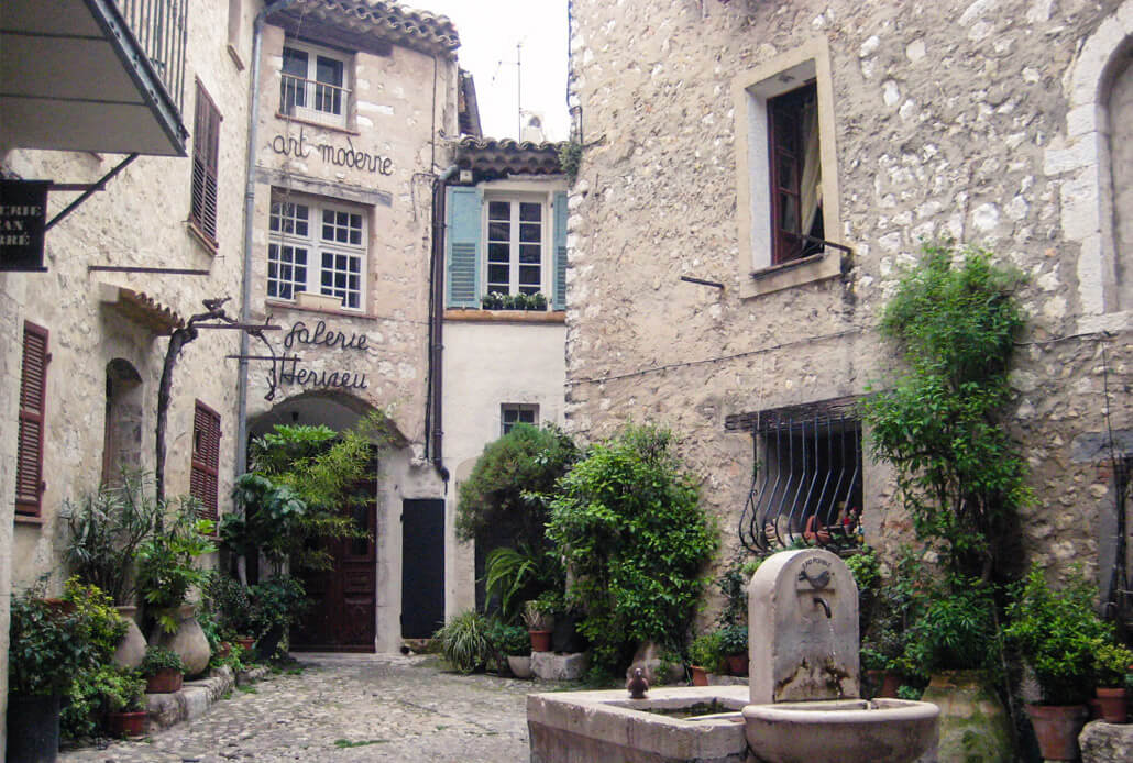 Charming little squares in Saint Paul de Vence on a day trip from Nice France