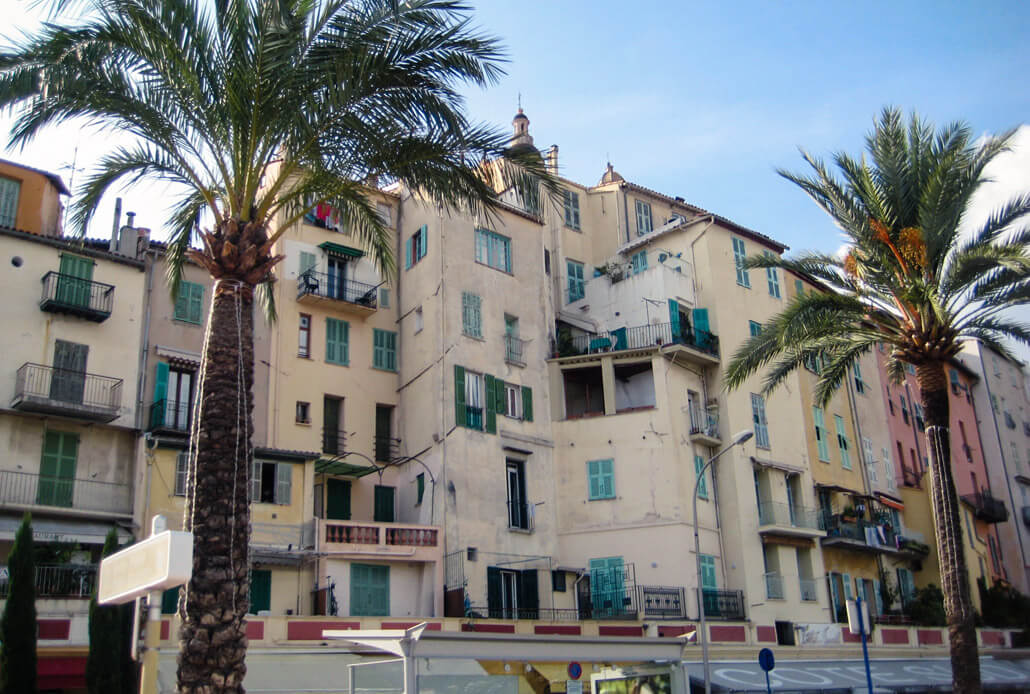 Houses by the main beach in Menton