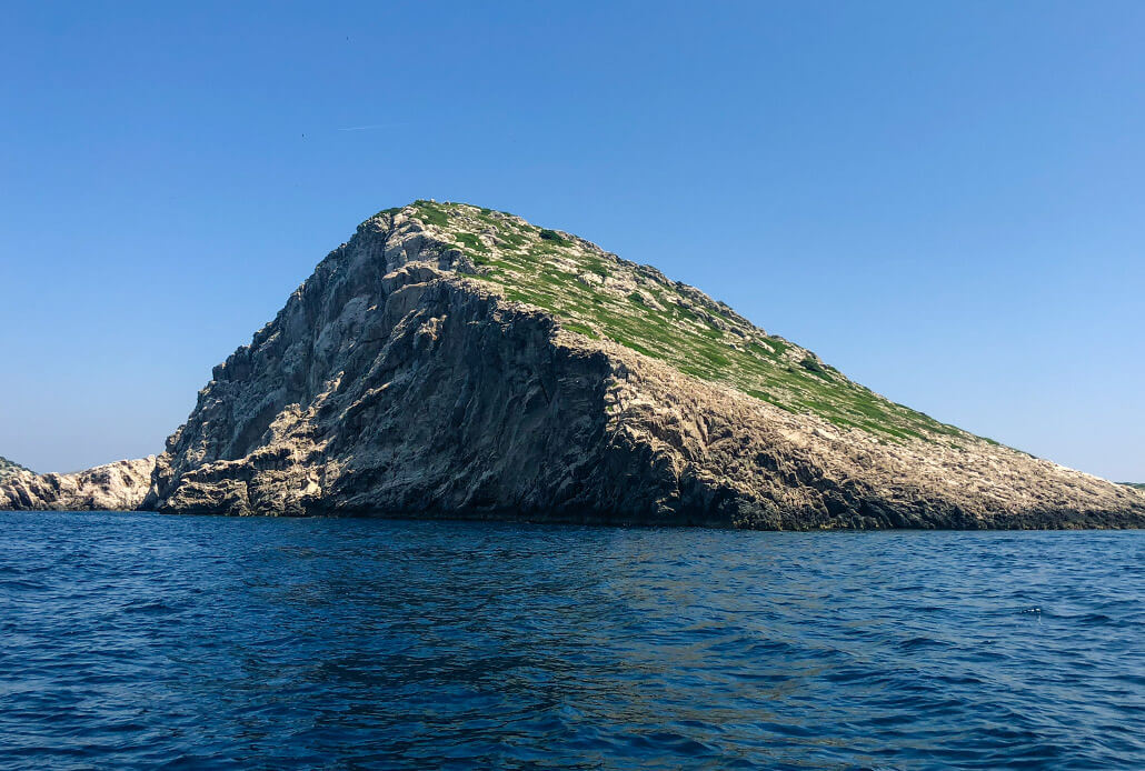 A typical crown-like karst island in Kornati NP