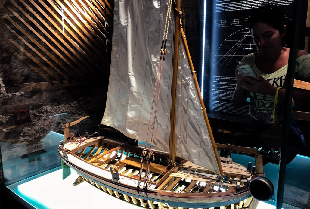 Model of Gajeta ship in the Betina Museum Croatia