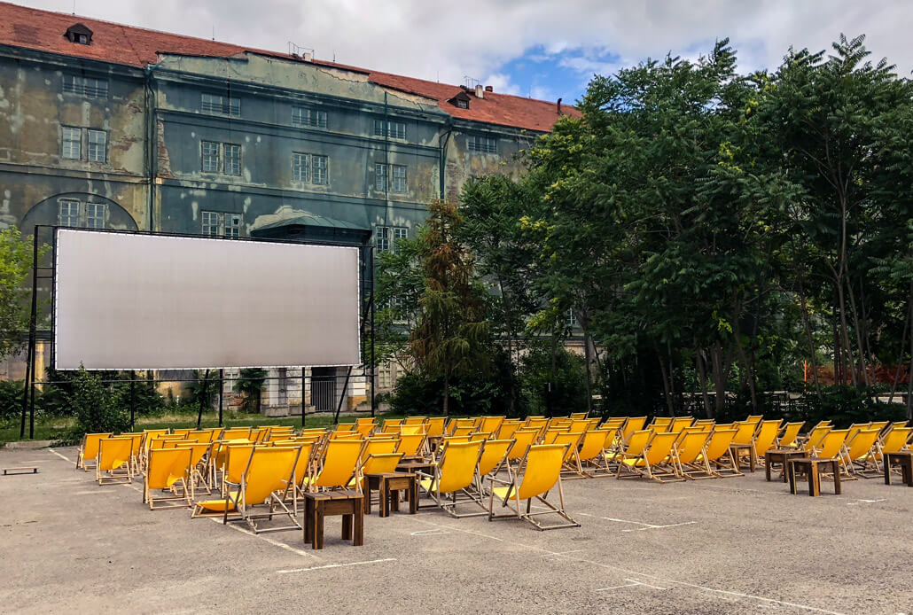 Summer cinema at Kasárna Karlín Prague