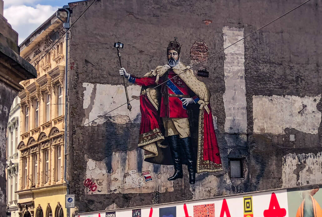 Mural of King David with a selfie stick on the Denisova Street in Olomouc