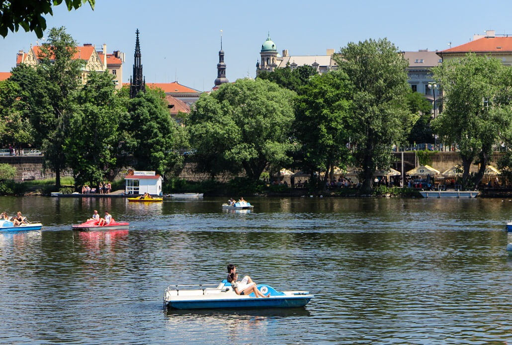 Pedal boats on the Vltava River in Prague