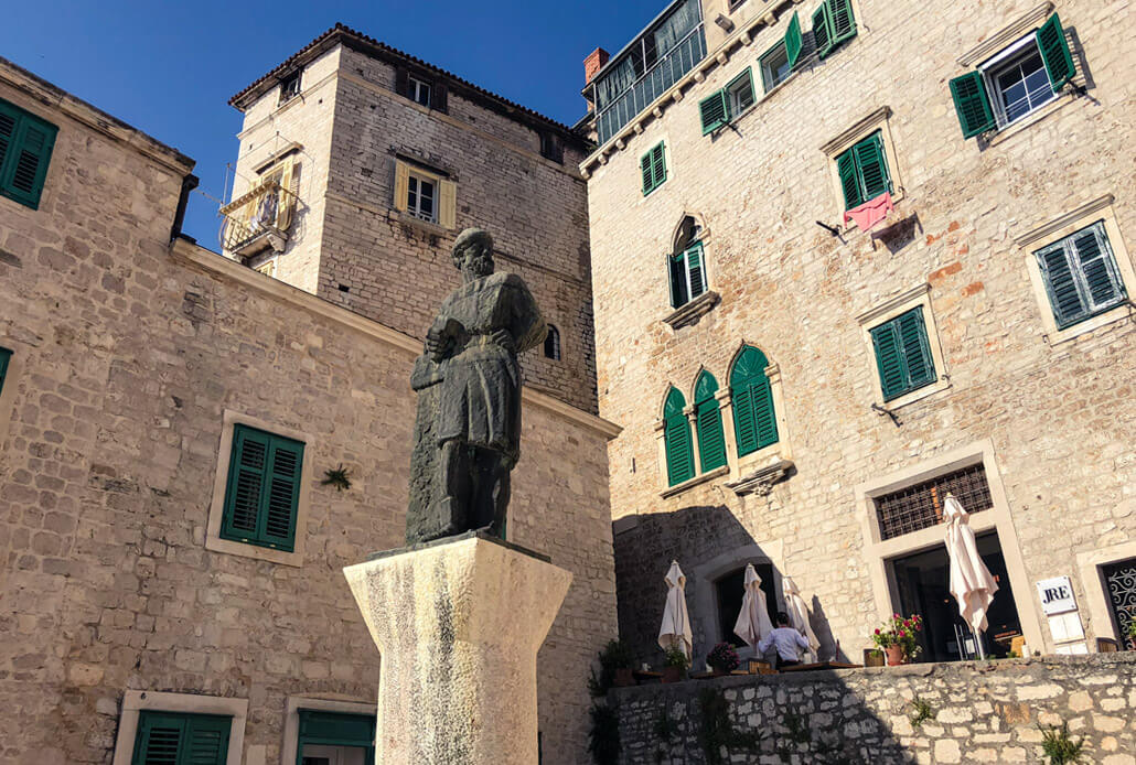 Statue of Juraj Dalmatinac, the artchitect behind the St. James Cathedral Sibenik Croatia
