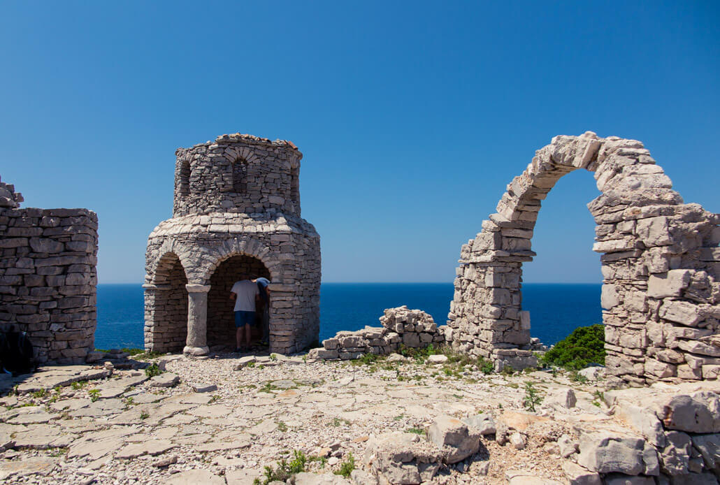 Old-looking structures on Mana Island, Kornati Croatia