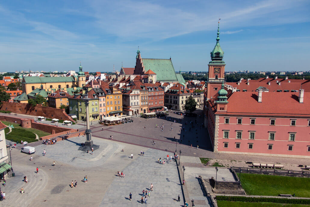View of Warsaw's Castle Square from St. Anna Church