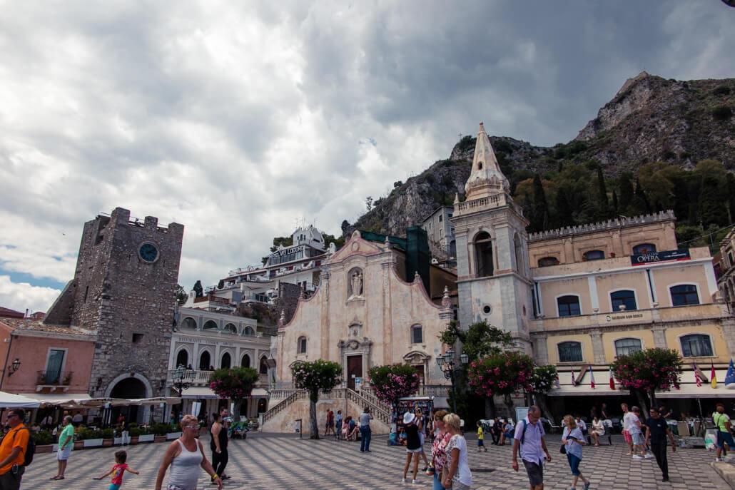 Piazza IX Aprile Castle and Chiesa di San Giuseppe Taormina