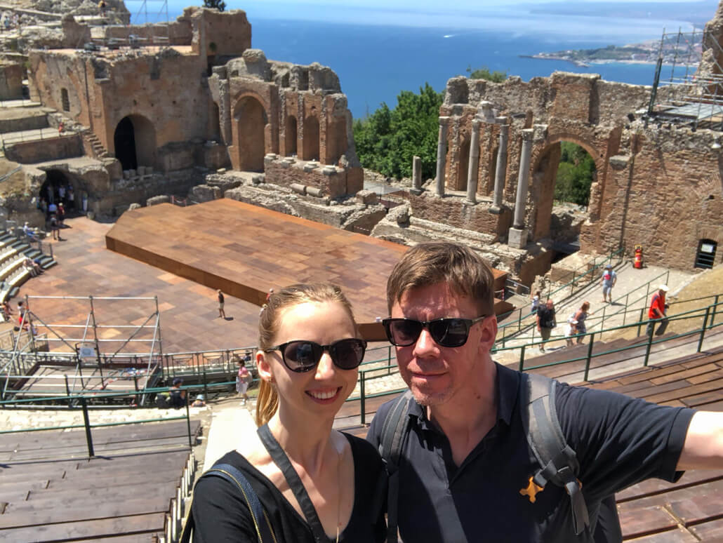 Veronika and Edward at Teatro Greco Taormina