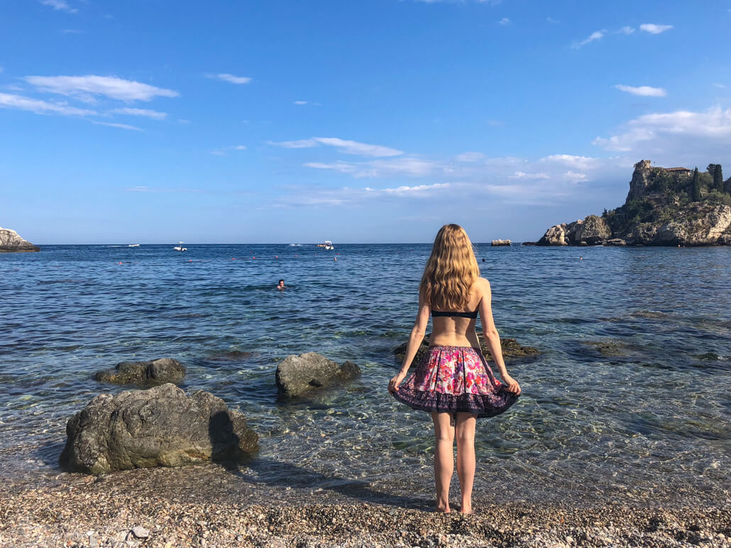 Veronika TravelGeekery on Isola Bella Beach Taormina Sicily