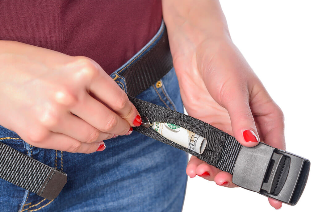 A belt with a pocket for hiding money