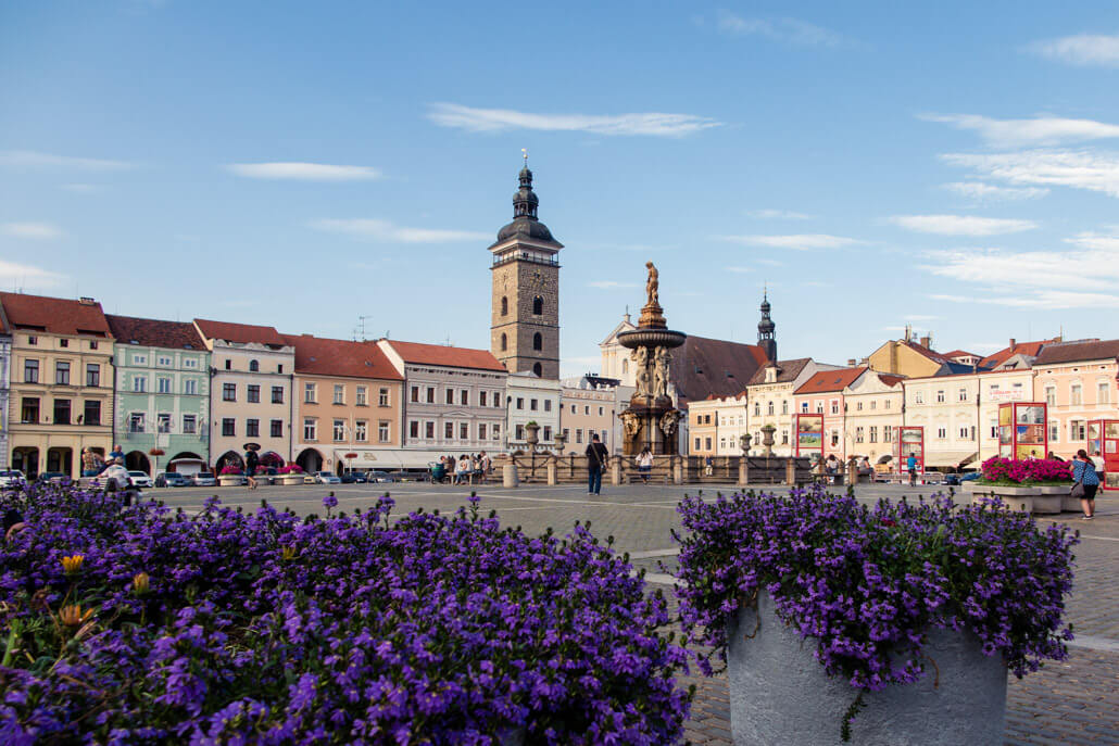 Black Tower and Samson Fountain in Ceske Budejovice Czech Republic