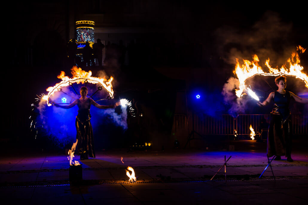 Fire show performance in Gorlice Poland