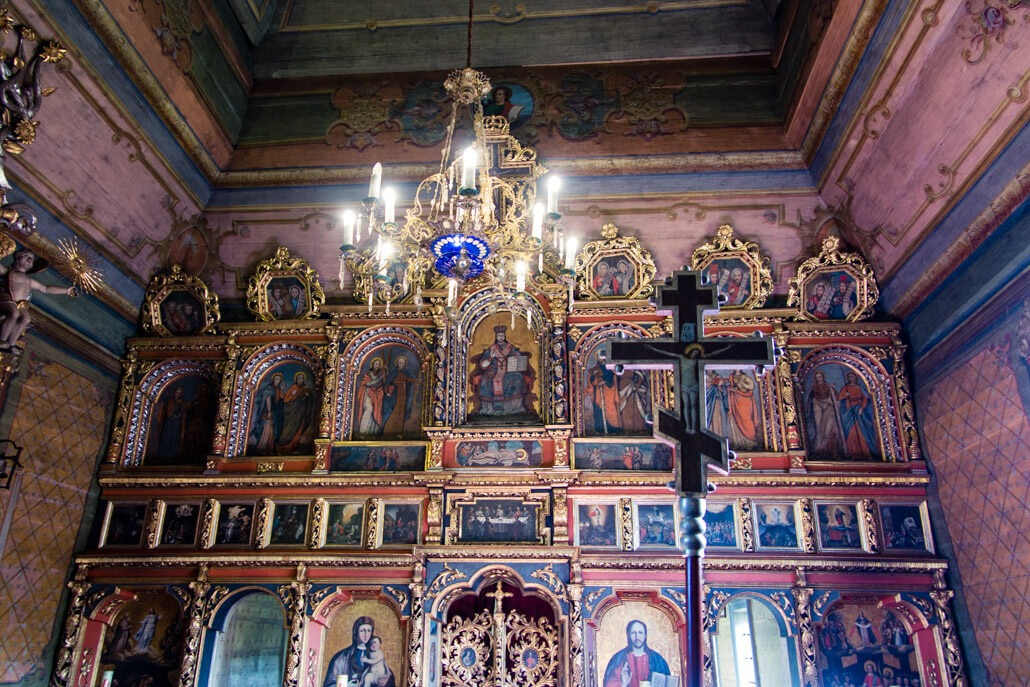 Iconostasis inside Owczary Church