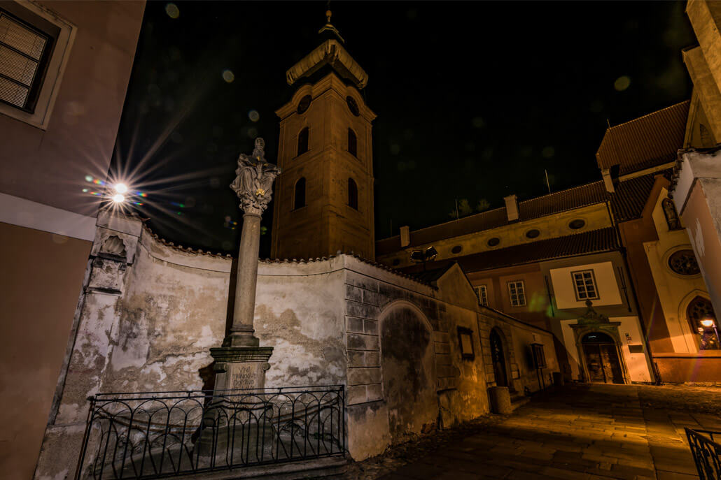 Piarist Square Ceske Budejovice at night
