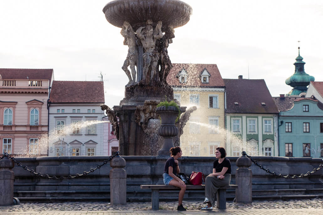 Samson Fountain in Ceske Budejovice
