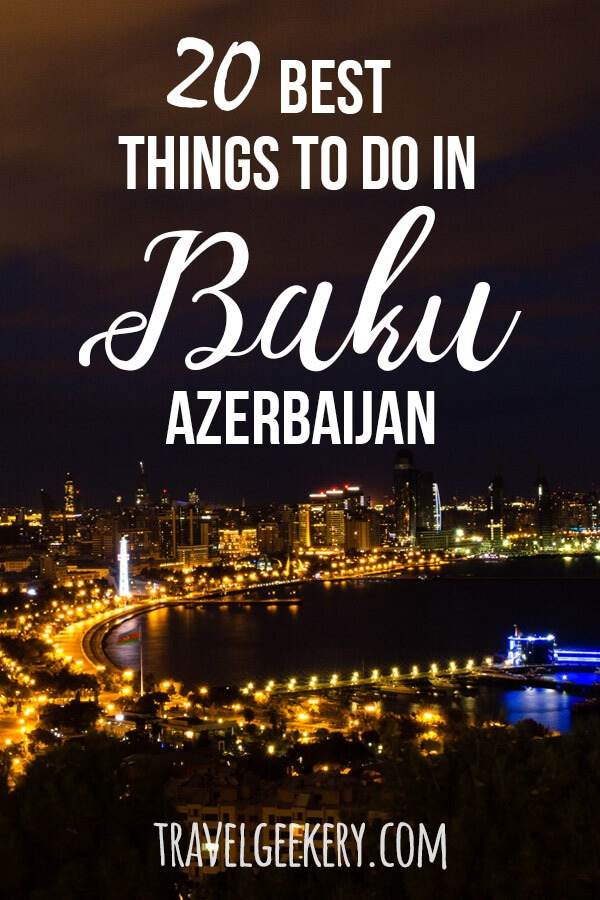 Baku Azerbaijan: See what are the best things to do in Baku and its surroundings so that you enjoy one of the most exciting cities to the fullest. Travel to Baku for food, for the amazing architecture of Zaha Hadid (Heydar Aliyev Cultural Centre), the amazing Flame Towers, Baku's seaside and more. Including info on the best restaurants. #baku #azerbaijan #thingstodo #caucasus #travel #travelgeekery