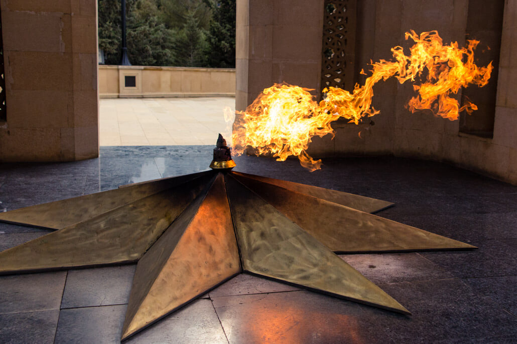 Eternal Fire Shrine at the end of Baku Martyrs Lane (Baku images)