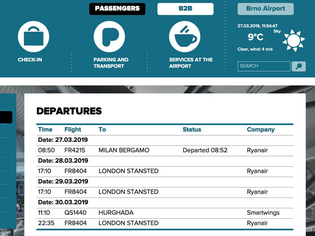Brno Airport Departures