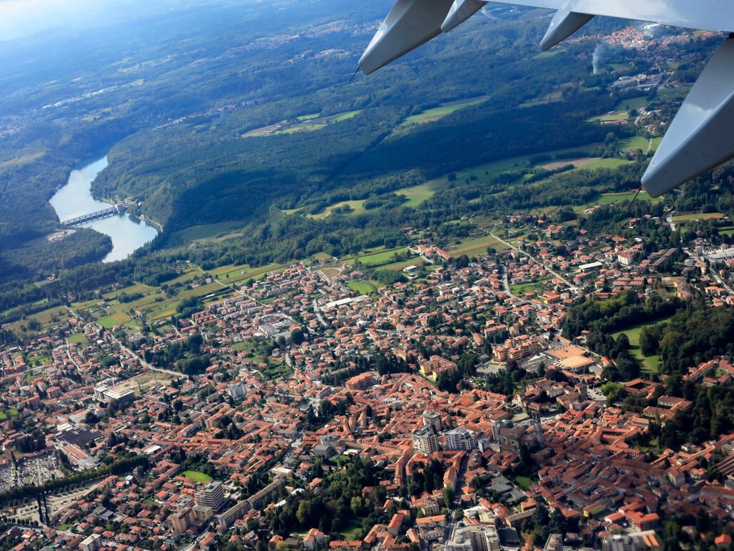 View of Bergamo from a plane