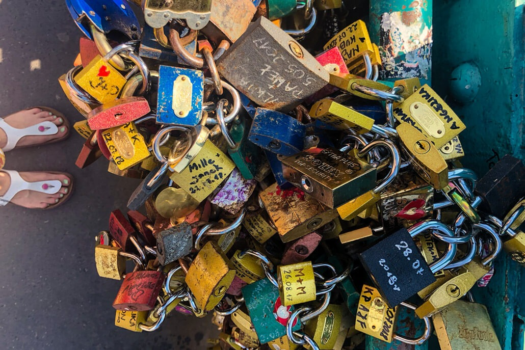 Love locks on Tumski Bridge Wroclaw