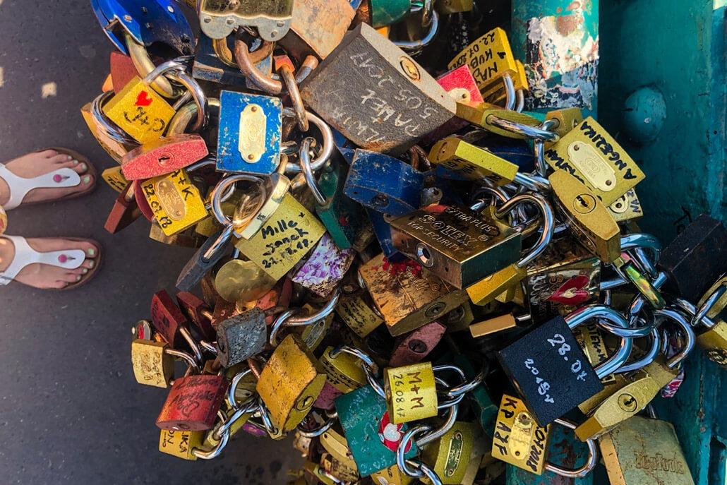Love locks on Tumski Bridge Wroclaw
