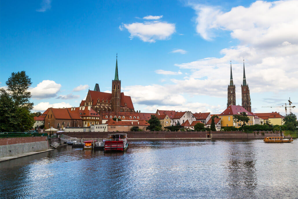 View of Tumski Island with the Double Church on the left and the Wroclaw Cathedral on the right