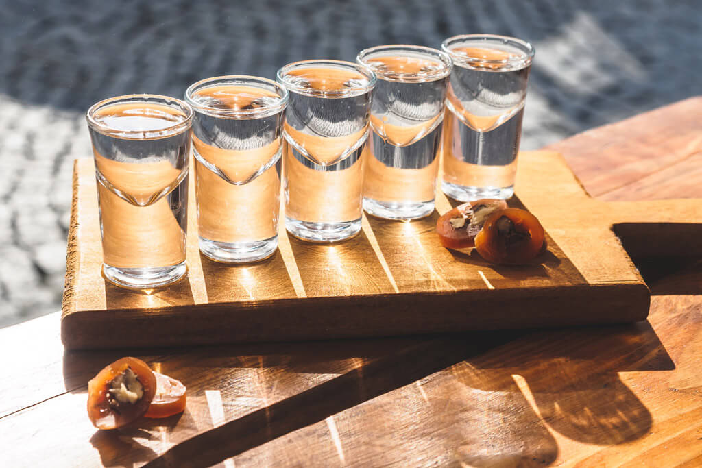 Shots of Georgian chacha, a hard liquor