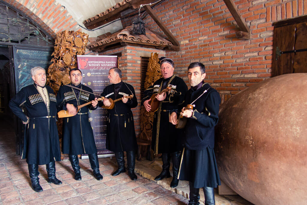 Musicians in front of Khareba Winery