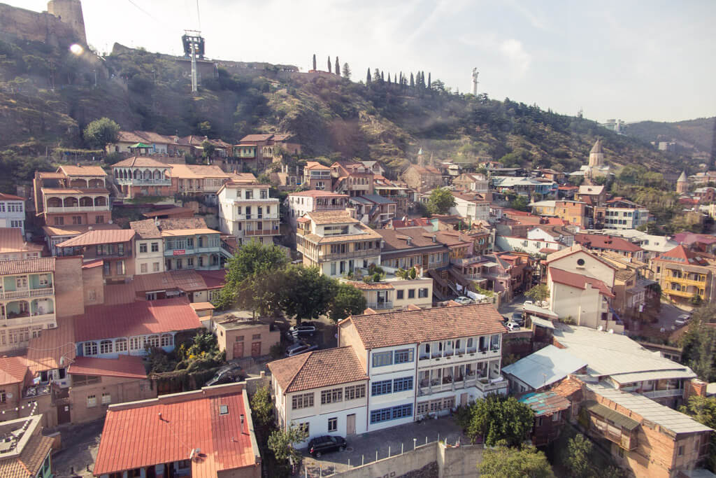 Sunny Tbilisi from a cable car