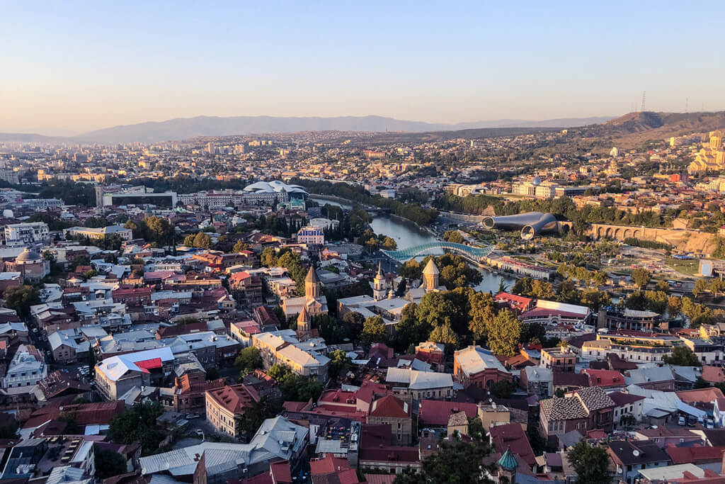 View of Tbilisi Georgia during the Golden Hour