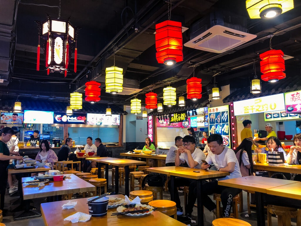 Eating in a shopping center in Shanghai