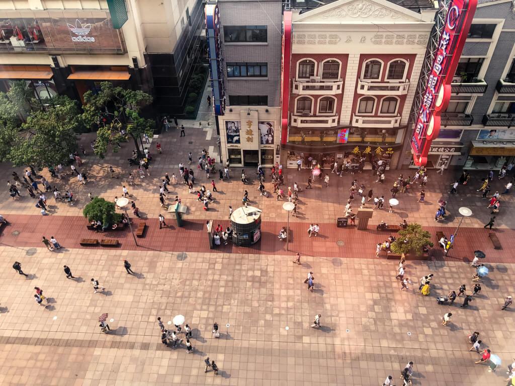 People on Shanghai's Nanjing Street Pedestrian Zone